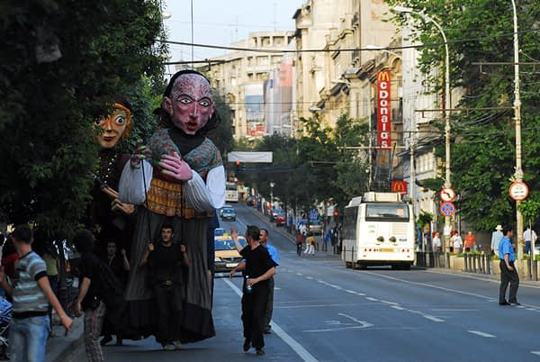giant puppets in bucharest