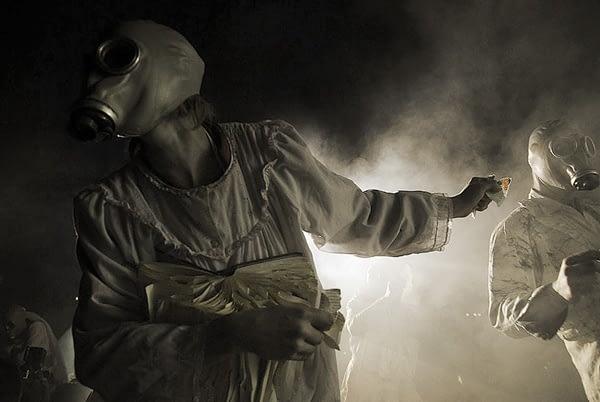 gas masks parade